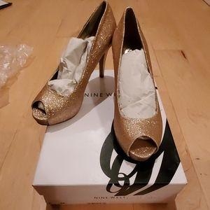 Gold platform party heels, Nine West
